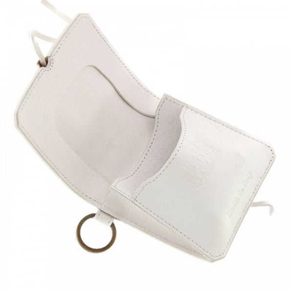 RMC JEANS Mens White Grain Leather Pouch Wallet