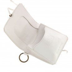 Mens White Grain Leather Pouch Wallet