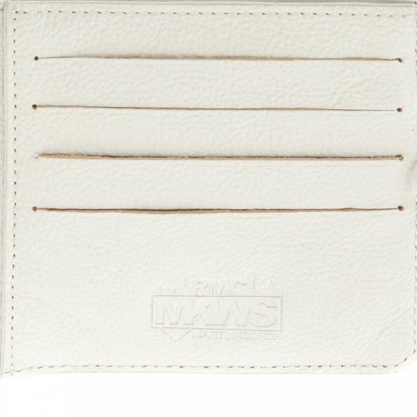RMC JEANS Mens White Grain Leather Wallet with Shoe Lace Tie Closure