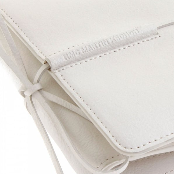 RMC JEANS Mens White Leather 3 Fold Credit Card & Coin Pouch Portrait Wallet