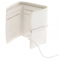 Mens White Leather 3 Fold Credit Card Mini Wallet