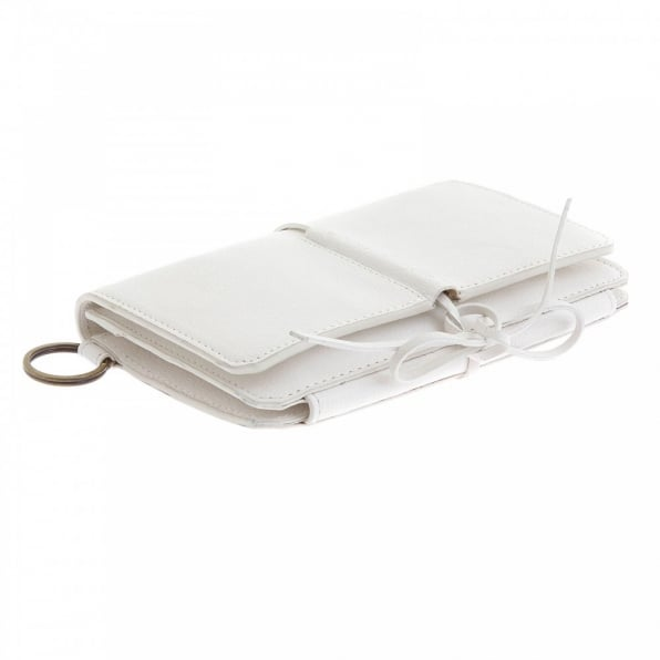 RMC JEANS Mens White Leather 3 Fold Credit Card Wallet