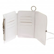 Mens White Leather 3 Fold Credit Card Wallet