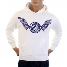 Mens White Over Head Large Fitting Hooded Sweatshirts