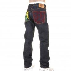 Model 1001 Tsunami Wave Painted Logo Vintage Raw Selvedge Denim Jeans