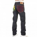 RMC JEANS Model 1001 Tsunami Wave Painted Logo Vintage Raw Selvedge Denim Jeans