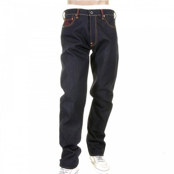 RMC JEANS Model 1001 Tsunami Wave Painted Logo Vintage Raw Selvedge Denim Jeans