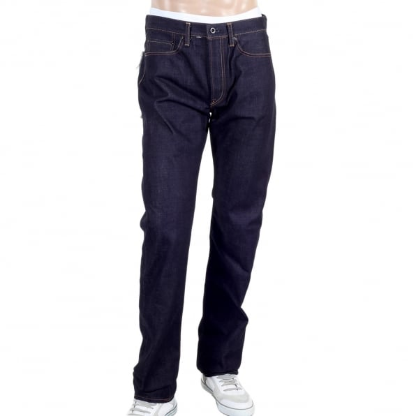 RMC JEANS Model 1011 Dark Blue RQP14121 Slim Fit Raw Selvedge Denim Jeans with Dragon and Tsunami Wave Embroidery