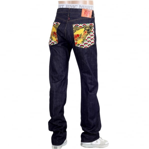 RMC JEANS Multi coloured Embroidered Pocket Koi Carp Slimmer 1001 Model Indigo Raw Selvedge Jeans
