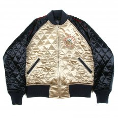 Navy and Champagne Fully Reversible Quilted Regular Fit Blouson Jacket with Hungry Dragon Embroidery