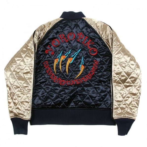 RMC JEANS Navy and Champagne Fully Reversible Quilted Regular Fit Blouson Jacket with Hungry Dragon Embroidery