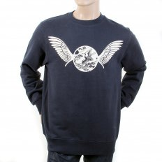 Navy Crew Neck Large Fitting Sweatshirt for Men