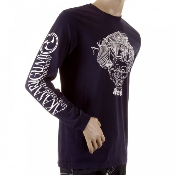 RMC JEANS Navy crew neck long sleeve regular fit t-shirt