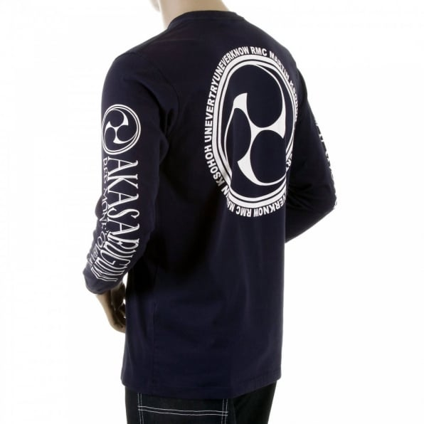 RMC JEANS Navy crew neck long sleeve regular fit t-shirt