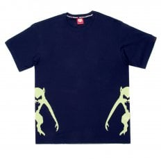 Navy Crew Neck Regular Fit T-Shirt with Printed Half Monkeys