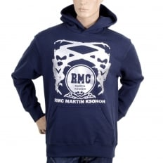 Navy Long Sleeve Sweatshirt Silver Logo Hoodie