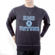 Navy Untunk Crew Neck Large Fitting Sweatshirt for Men