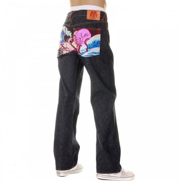 RMC JEANS Octopus Embroidered Vintage Cut Dark Indigo Raw Denim Jeans