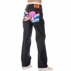 Octopus Embroidered Vintage Cut Dark Indigo Raw Denim Jeans