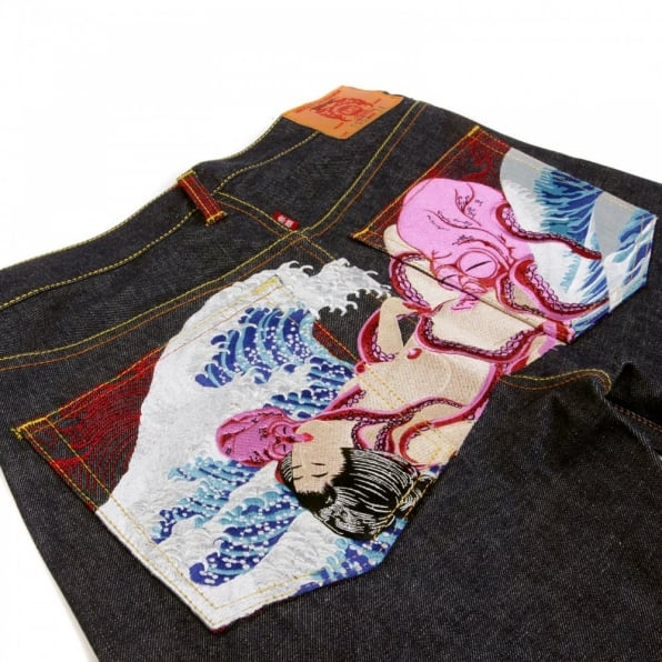 RMC JEANS Octopus Embroidered Vintage Cut Dark Indigo Raw Denim Jeans