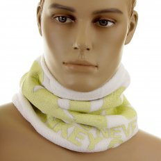 Off White Fleece Neck Warmer Snood Scarf with Tsunami Wave Embroidery