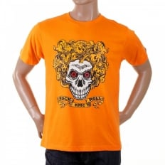 Orange Crew Neck Short Sleeve Regular Fit T-Shirt with Rock and Roll Skull Print
