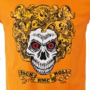 RMC JEANS Orange Crew Neck Short Sleeve Regular Fit T-Shirt with Rock and Roll Skull Print
