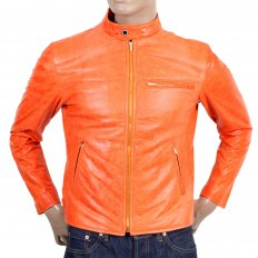 Orange Kid Leather Zipped Biker Jacket with Nehru Collar