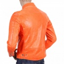 RMC JEANS Orange Kid Leather Zipped Biker Jacket with Nehru Collar