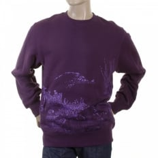 Purple Large Fitting Sweat Shirt for Men