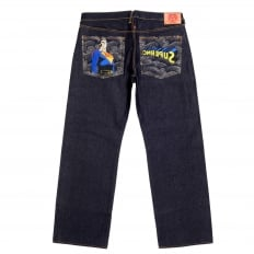 Rare and Exclusive Design Dark Indigo Raw Denim Jeans with Embroidered Superman