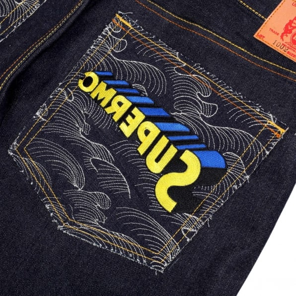 RMC JEANS Rare and Exclusive Design Dark Indigo Raw Denim Jeans with Embroidered Superman