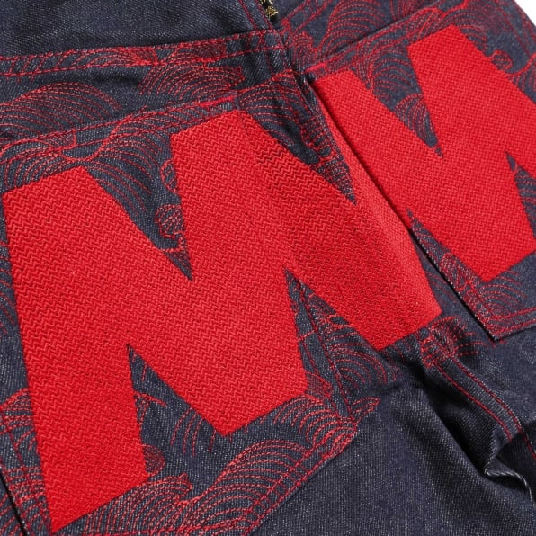 RMC JEANS Rare Selvedge Denim Jeans with 4A LIKE BLACK red Embroidery