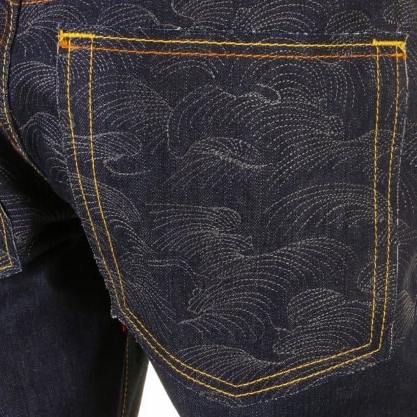 RMC JEANS Raw Denim with Charcoal Tsunami Wave Logo on Full Back