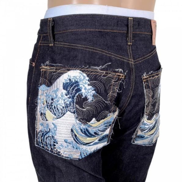 RMC JEANS Raw Japanese Selvedge Toyo Tsunami New Slim Cut Denim Jeans