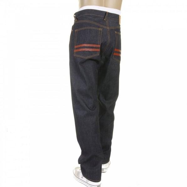 RMC JEANS Red and Blue Selvedge Dark Indigo Raw Denim Jeans