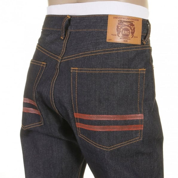 RMC JEANS Red and Blue Selvedge Dark Indigo Raw Denim Jeans