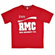Red Crew Neck Regular Fit Short Sleeve T-Shirt with Printed Enjoy RMC