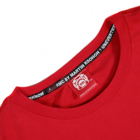 RMC JEANS Red Crew Neck Regular Fit Short Sleeve T-Shirt with Printed Enjoy RMC