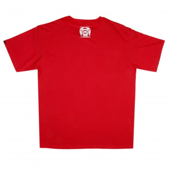 RMC JEANS Red Crew Neck Regular Fit Short Sleeve T-Shirt with Printed Mask