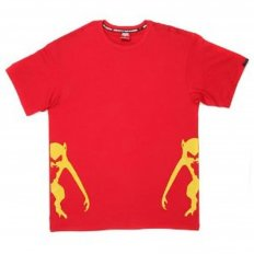 Red Crew Neck Regular Fit T-Shirt with Printed Half Monkeys