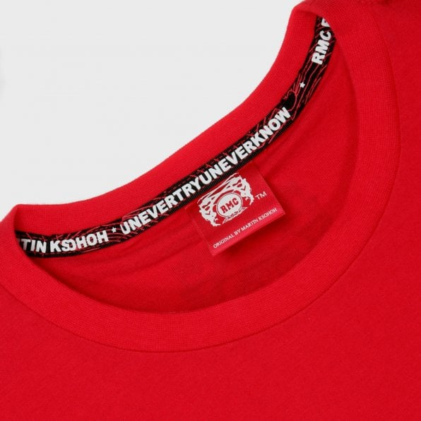 RMC JEANS Red Crew Neck Regular Fit T-Shirt with Printed Half Monkeys
