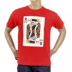 Red Crew Neck Short Sleeve Regular Fit T shirt For Men with Poker Playing Card Print