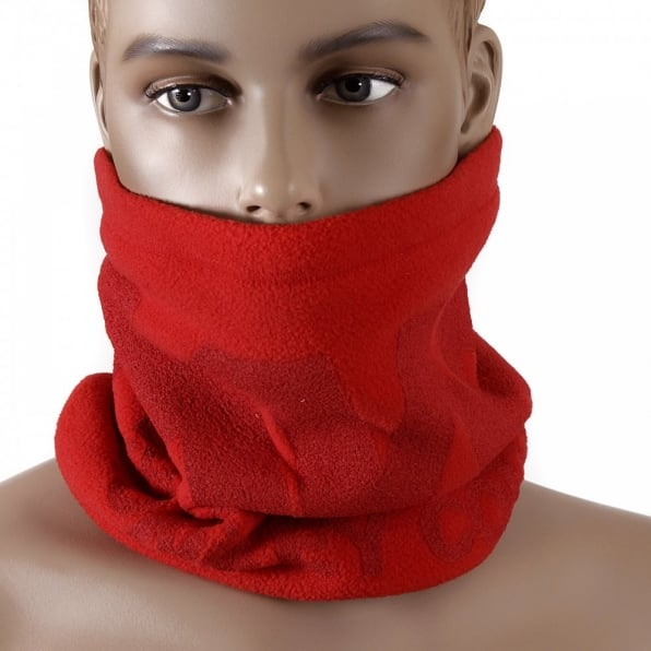RMC JEANS Red Fleece Reversible Head and Neck Warmer Snood Scarf