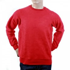 Red Large Fitting Crew Neck Sweatshirt for Men