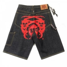 Red Painted Logo Exclusive Design Dark Indigo Raw Denim Shorts