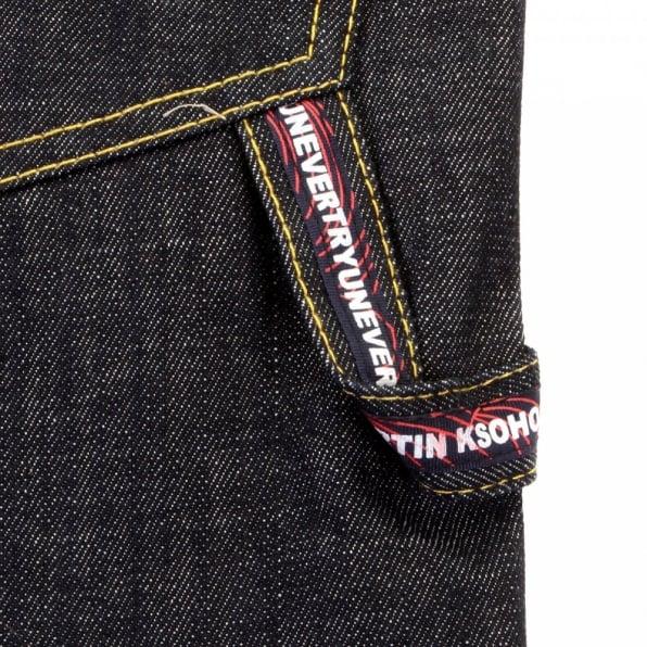 RMC JEANS Red Painted Logo Exclusive Design Dark Indigo Raw Denim Shorts