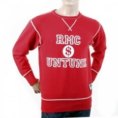 Red Untunk Crew Neck Large Fitting Sweatshirt for Men