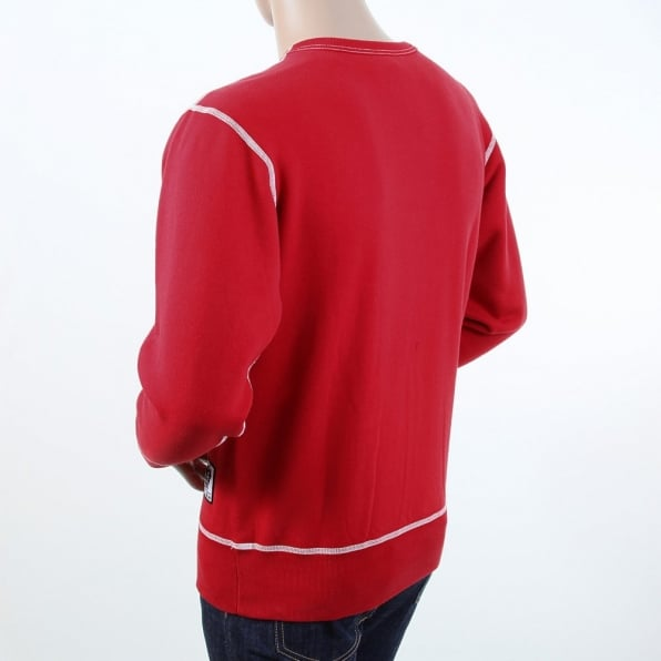 RMC JEANS Red Untunk Crew Neck Large Fitting Sweatshirt for Men