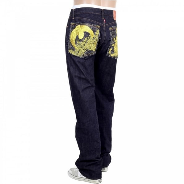 RMC JEANS Regular Classic Slim Model Selvedge Indigo Raw Denim Jeans with Gold Thread Crane and Flower Embroidery